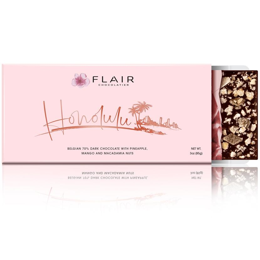 Flair Belgian Dark Chocolate - Honolulu (Pineapple, Mango and Macadamias)