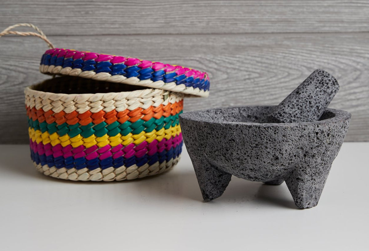 Molcajete with Tortilla Basket