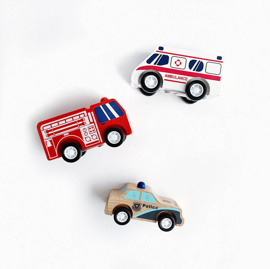 Wooden Toy Pull Back Rescuers - 3pc Set