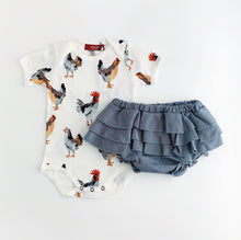 Load image into Gallery viewer, Milk Barn Chicken Onesie & Ruffle Bloomer Set