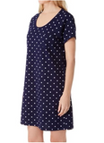 "KayAnna Jersey 38"" Lounger Sleepwear K12390 Navy Dot"