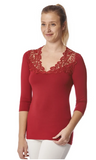 Arianne Teri 3/4 Sleeve Top with V Neck Appliqué 9501 red