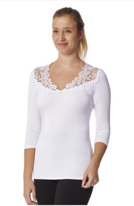Arianne Teri 3/4 Sleeve Top with V Neck Appliqué 9501