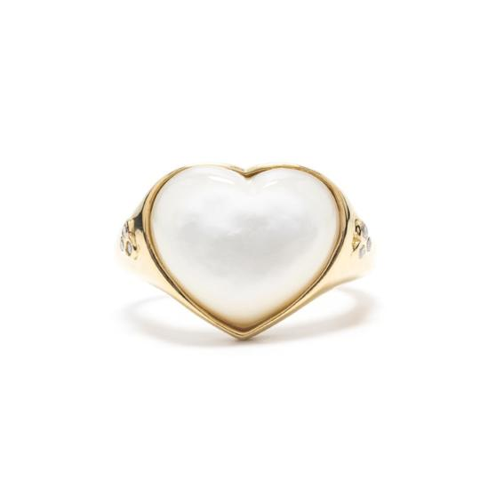 Pure Love Heart Ring in Gold w/Mother of Pearl Size 8