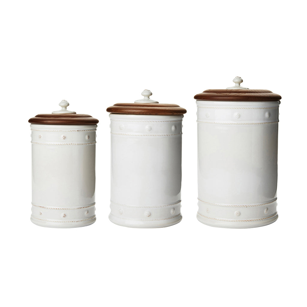 Set of 3 Berry & Thread Whitewash Canisters with Wooden Lid