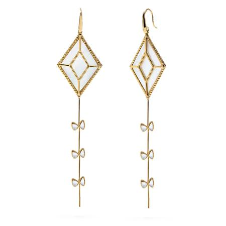 Grand Kite Earrings, Gold with Mother of Pearl