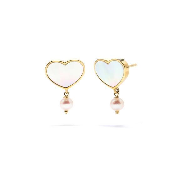 Pure Love Earrings in Gold w/Mother of Pearl