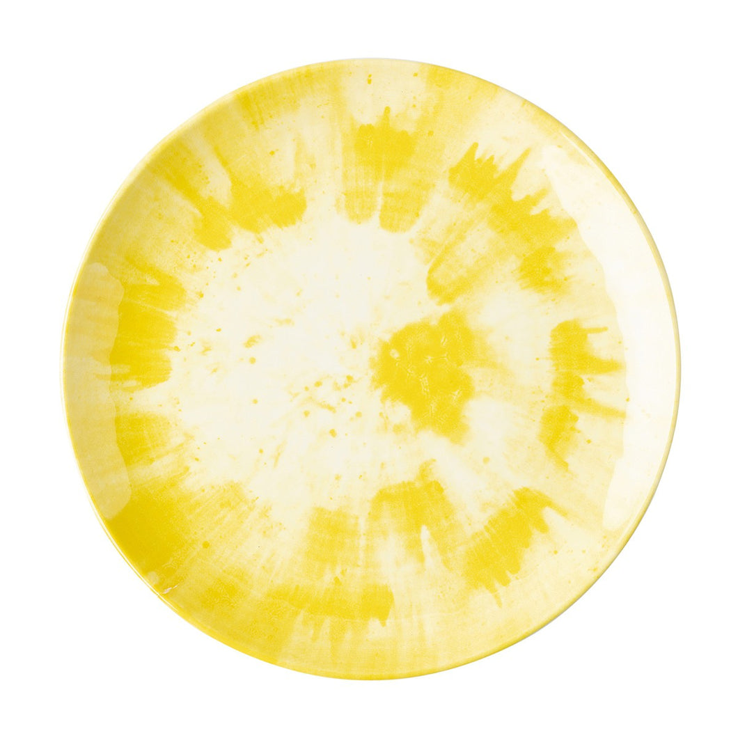 Splatter & Spin Melamine Yellow Dinner Plate Set (8)