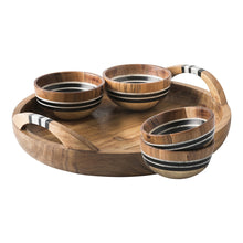Load image into Gallery viewer, Stonewood Stripe 5 Piece Appetizer Set Tray & 4 Bowls