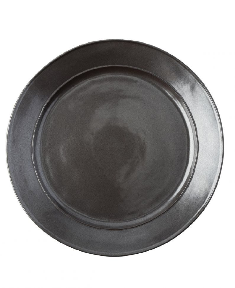 Pewter Stoneware Dinner Plate Set (4)
