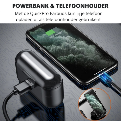 QuickPro Earbuds | Waterproof & Oplaadcase en powerbank in-één