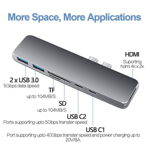 7-IN-1 USB TYPE-C HUB / TF SD HDMI USB 3.0 | Macbook Pro