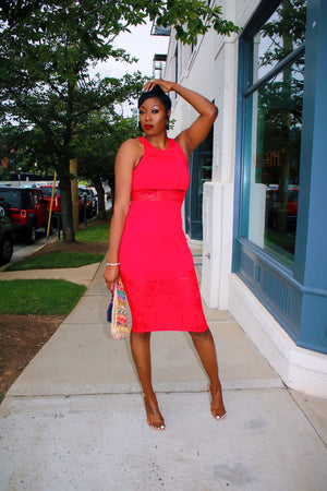 Dash Midi Dress (Red)