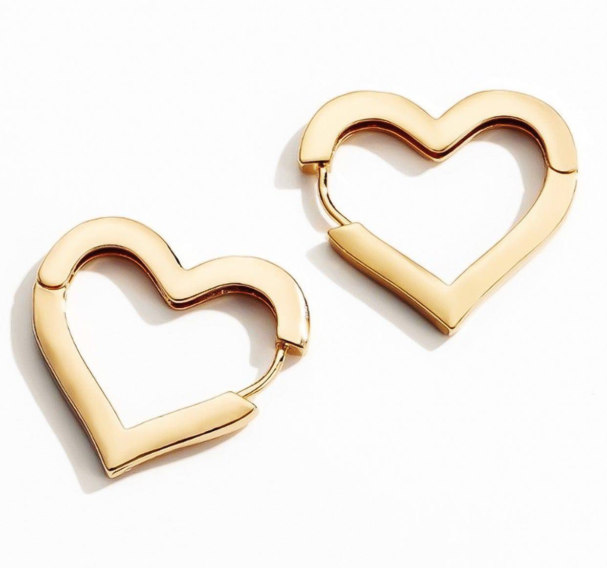 Heart Hoop Huggies Earrings