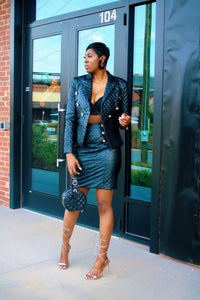 Black Quilted | Blazer Skirt Set