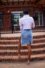 Load image into Gallery viewer, Distress Denim Skirt
