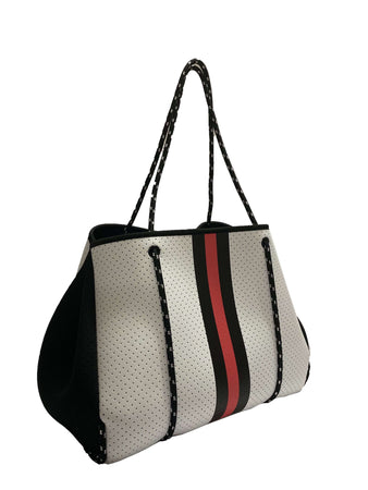 Boss Lady | Neoprene Tote Bag- White/Black