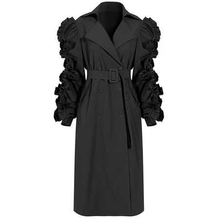 Oh So Ruffled Trench Coat (Black)