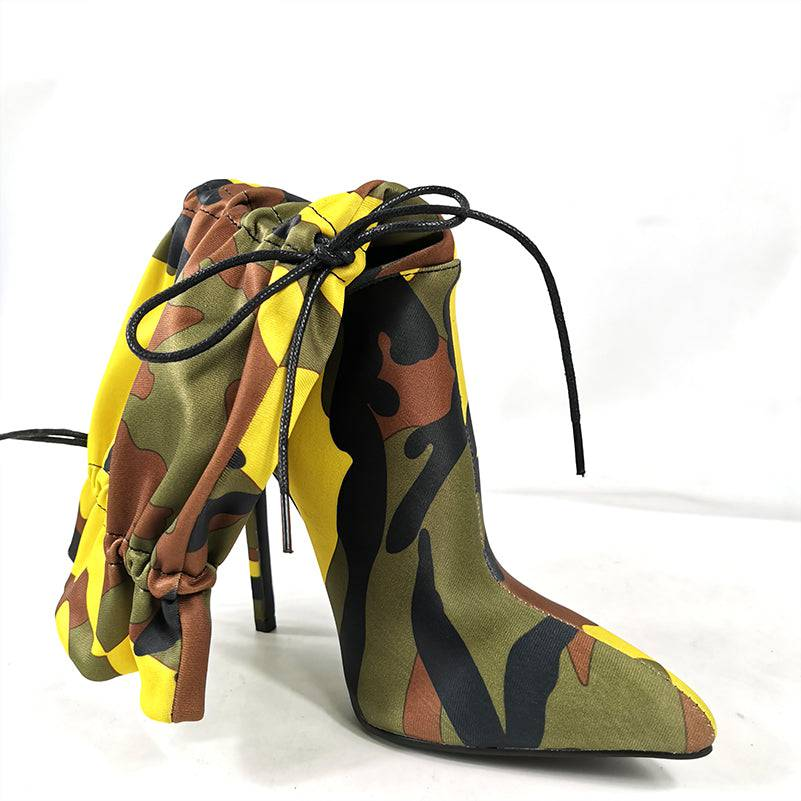 Yellow Bossy Camo Booties