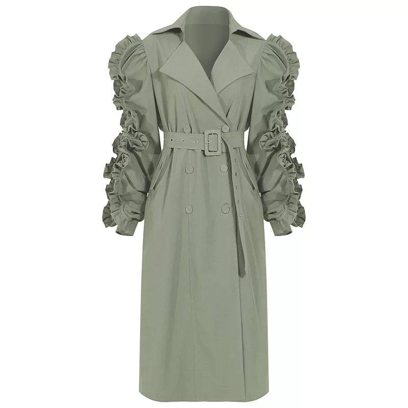 Oh So Ruffled Trench Coat (Mint Green)