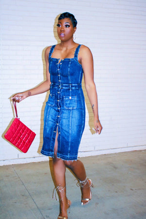Desi Denim Overall Dress