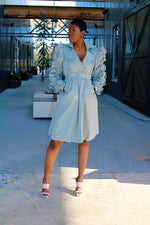Load image into Gallery viewer, Oh So Ruffled Trench Coat (Mint Green)