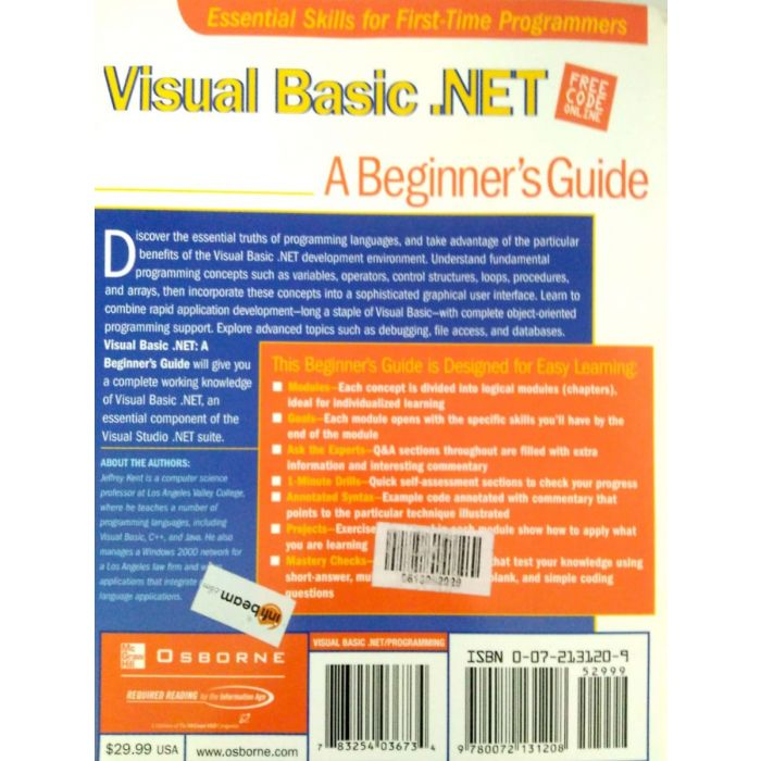 Visual Basics .NET - A Beginner's Guide - BooksKart