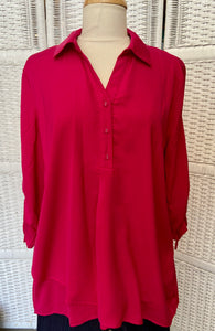 Fuschia Drawstring Top