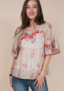 Rose Embroidered Ruffle Top