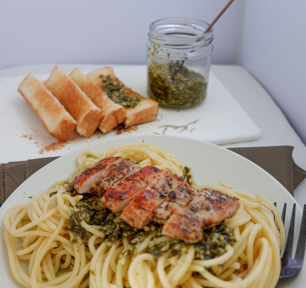 One Pot Pesto Garlic Herb Chicken Pasta