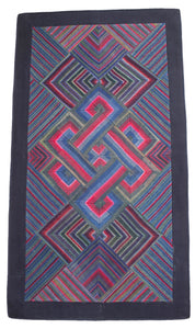 'Double Endless Knot in Pink & Green', Tibetan Wall-hanging Art