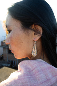 Long Silver Chasing Turquoise Earrings