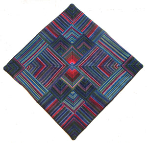 Cushion Cover, 'Lotus & Pond with Red', Tibetan Patchwork Art