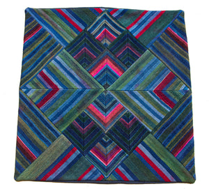 Cushion Cover, 'Lotus & Pond with Triple Red', Tibetan Patchwork Art