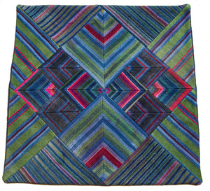Cushion Cover, 'Lotus & Pond with Pink', Tibetan Patchwork Art