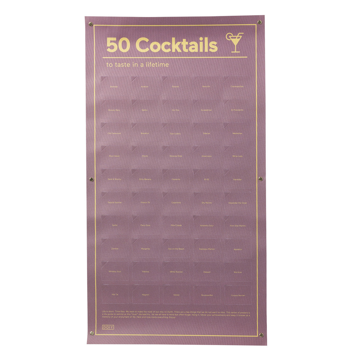 DOIY 50 Cocktails To Taste In A Lifetime Poster