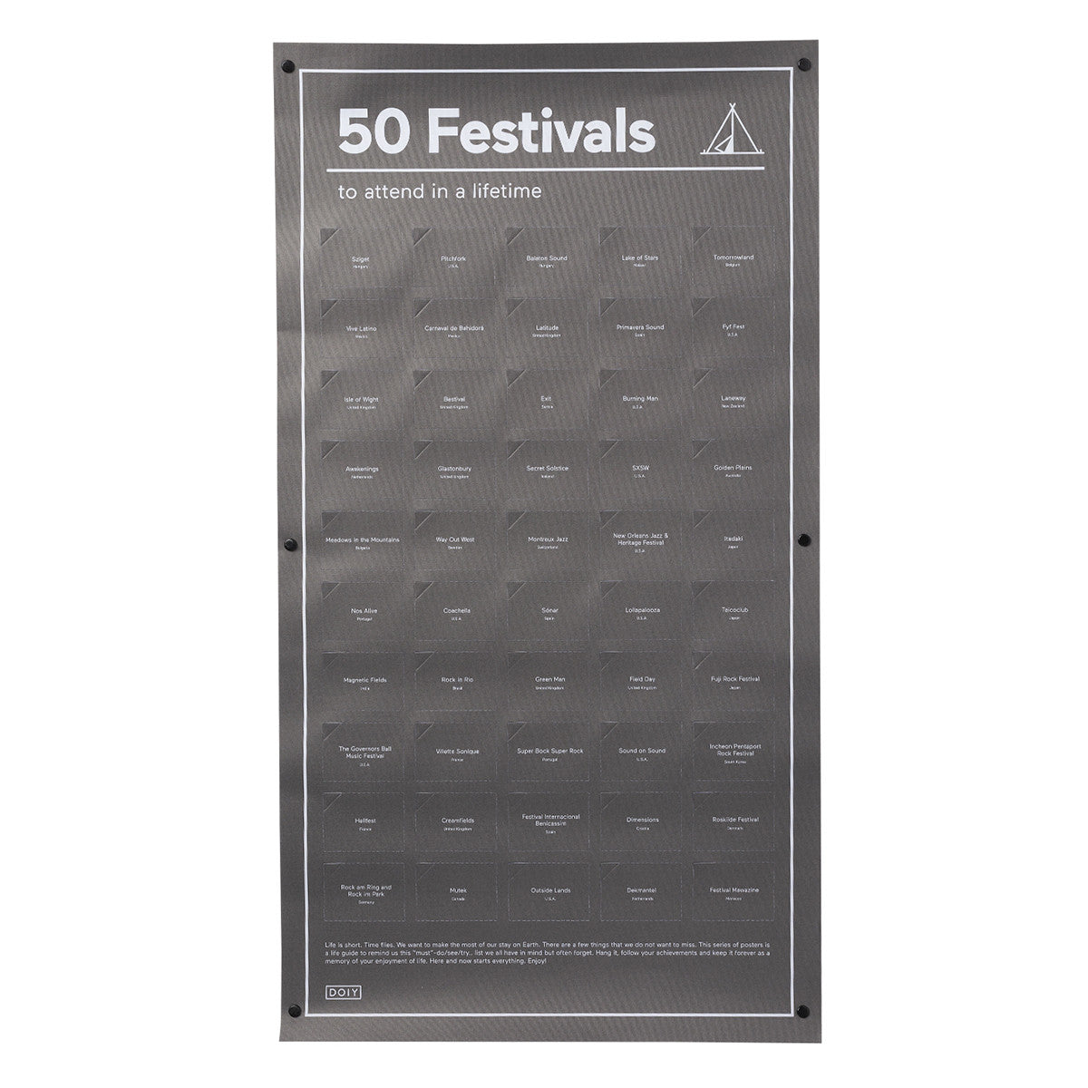 DOIY 50 Festivals To Attend In A Lifetime Poster