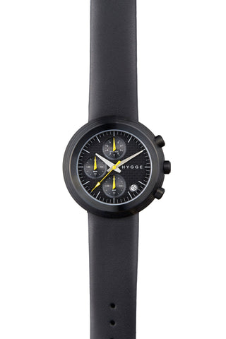 HYGGE Watch  2312 Chronograph Series Leather Strap Black/Black - Australian Gifts Online - 1