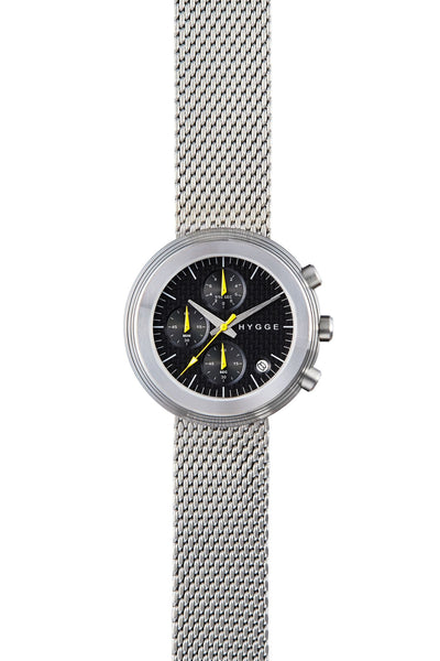 HYGGE Watch  2312 Chronograph Series Metal Strap Silver/Black - Australian Gifts Online - 1