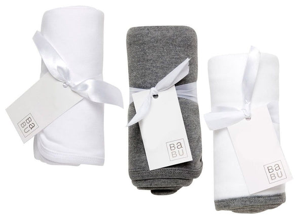 Babu Organic Cotton Baby Wrap (White with Grey Trim) - Australian Gifts Online