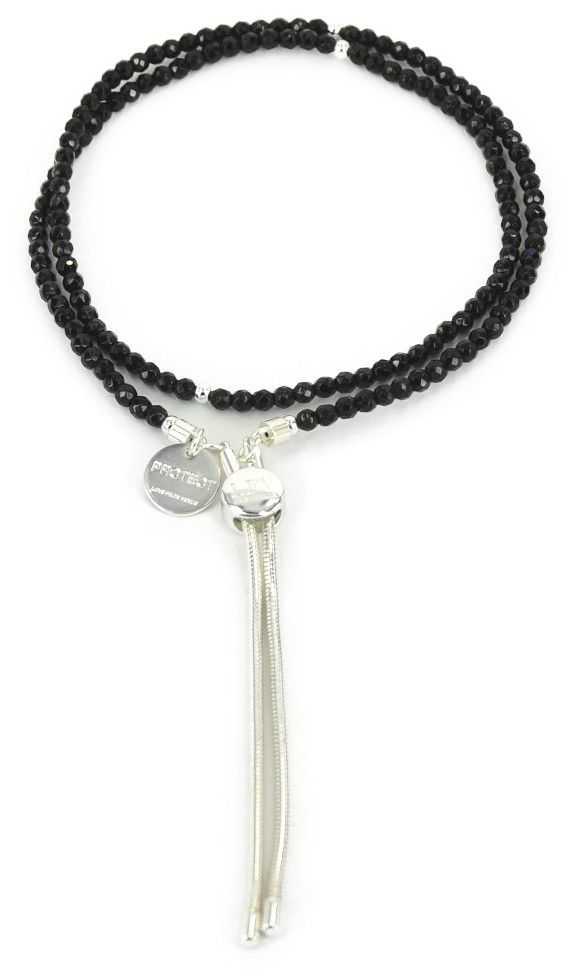 Love From Venus 4mm Black Silver Tassel Necklace