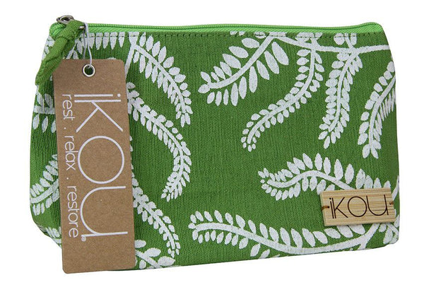 iKOU White Fern on Green Cosmetic Bag - Australian Gifts Online