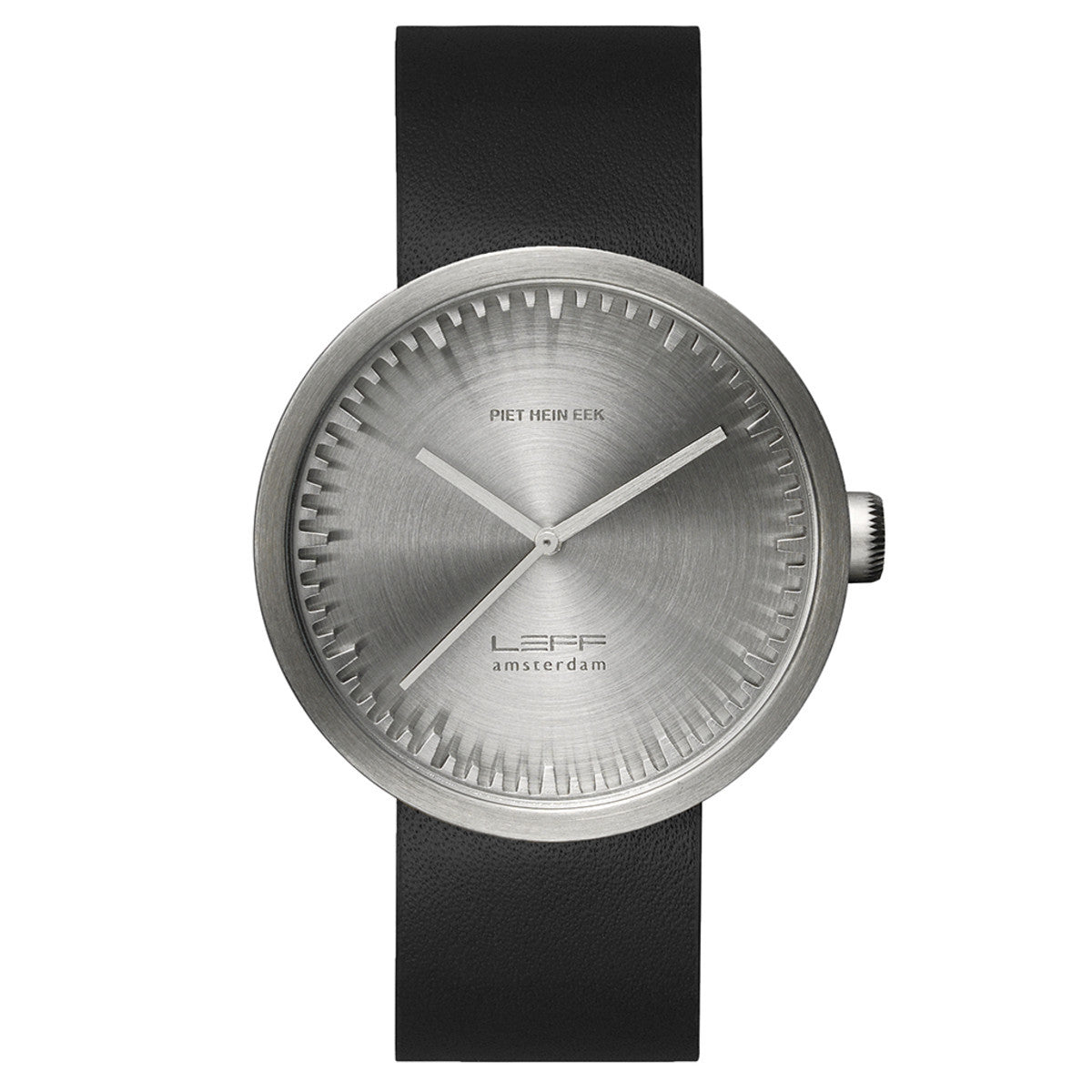 LEFF Amsterdam Tube Watch D42 With Black Leather Strap