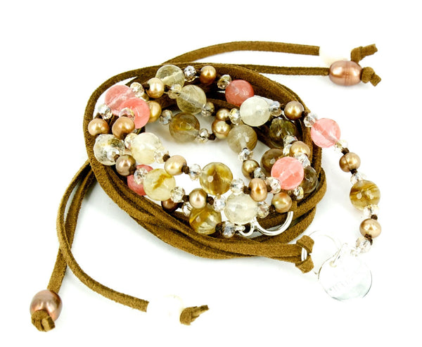Love from Venus Rose Quartz Agates & Champagne Pearl Jewelled Stone Wrap - Australian Gifts Online - 1