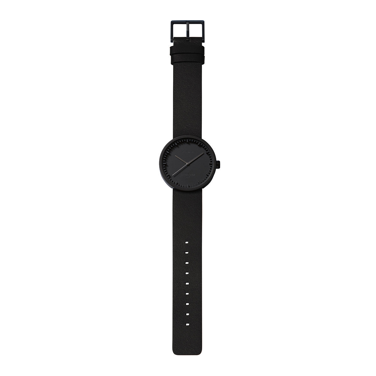LEFF Amsterdam Tube Watch D38 With Black Leather Strap
