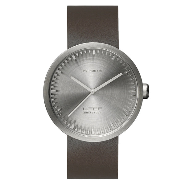 LEFF Amsterdam Tube Watch D42 With Brown Leather Strap