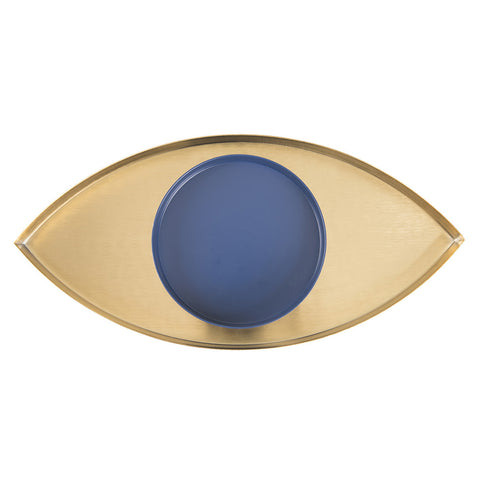 DOIY The Eye Gold And Blue Metal Tray