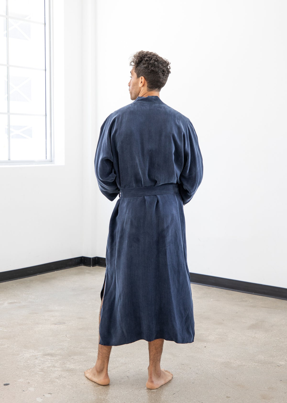 Midnight Blue Men Kimono Robe