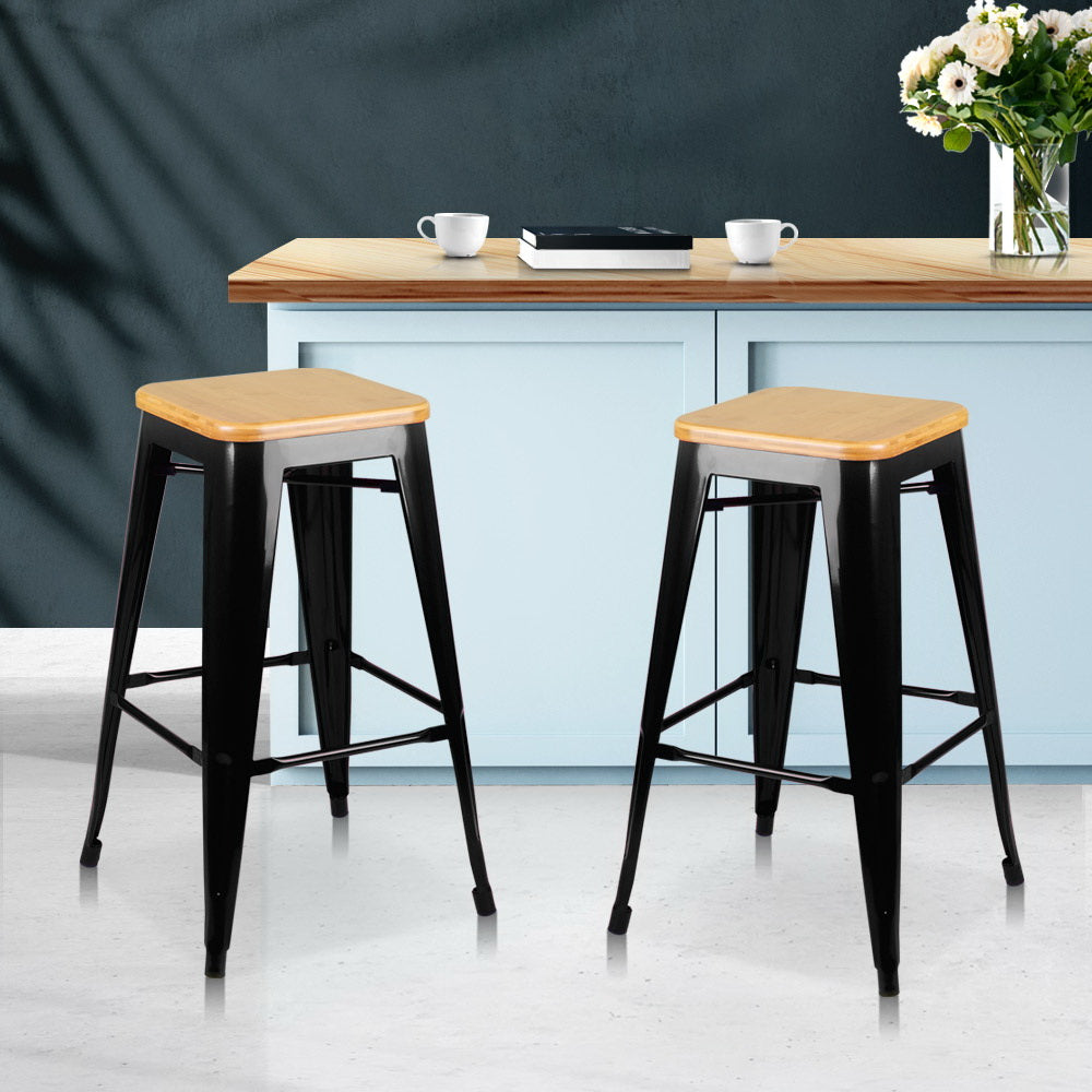 Artiss Set of 2 Wooden Backless Bar Stools- Black
