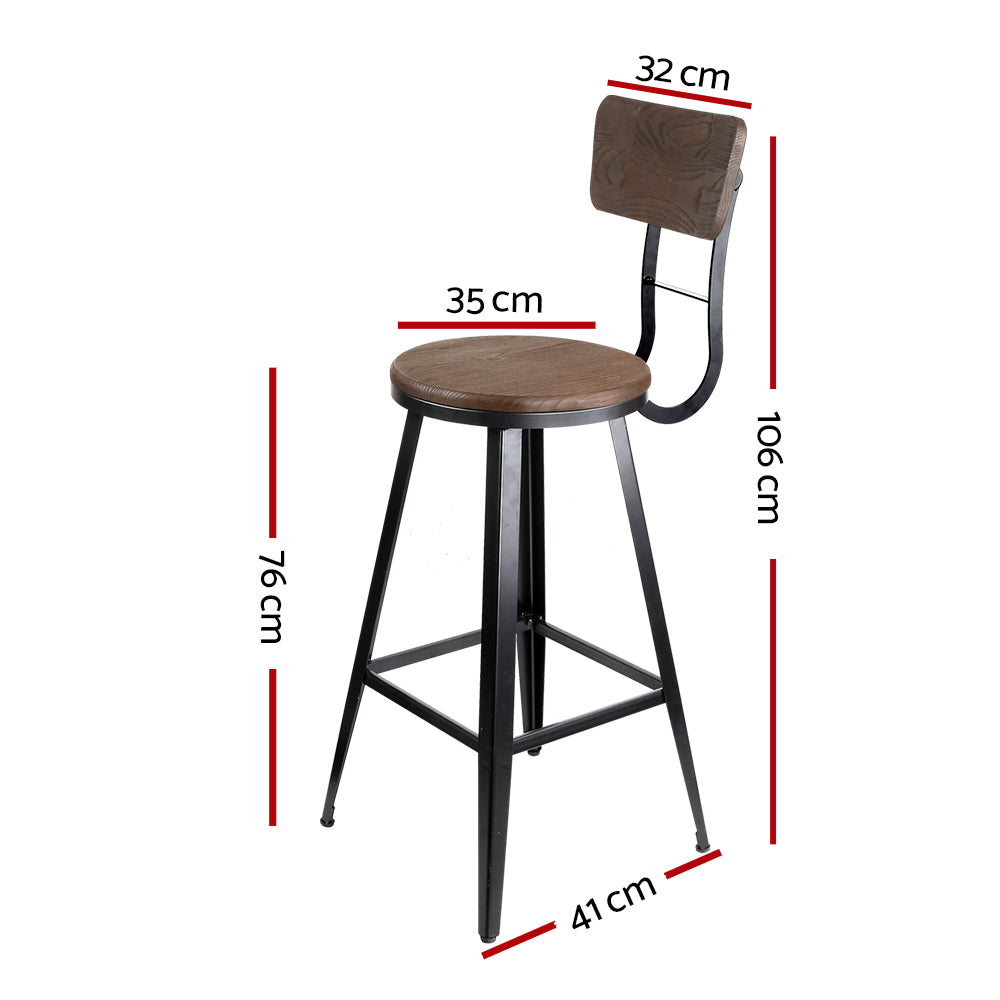Artiss Industrial Style Swivel Bar Stool 76cm - Black